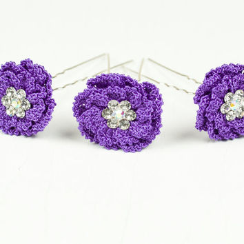 Purple Wedding Hair Pins - Set of Three Purple Flower Hair Pins - Peony Flower - Wedding Accessory - Crystal Hair Piece - Fiber Art Jewelry