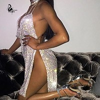 Kendall Jenner's 21st Birthday Outfits 2016  Handmade  Metal Chain Straps Backless Sexy Dress Women New Silver Christmas party