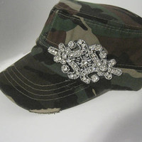 Cadet Military Distressed Hat in Green Camouflage with Beautiful Rhinestone Beaded Appliqué