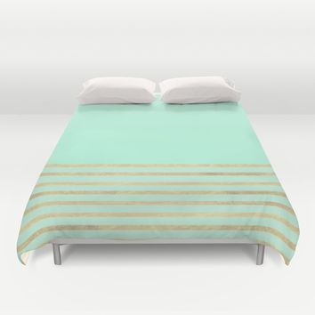 Mint and Gold stripes Duvet Cover by Xiari | Society6