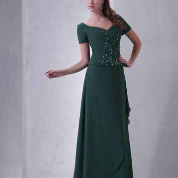 Real Photos Green V-Neck Short Sleeves Prom Dresses Beaded Ankle-Length A-Line Long Party Gowns