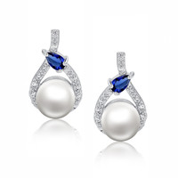 Shell Pearl W. Blue Teardrop Cubic Zirconia Earrings