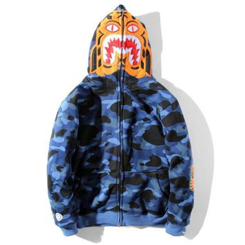 Bape Aape  Autumn Winter Classic Fashion Women Men Blue Camouflage Tiger Head Shark Mouth Embroidery Hoodie Velvet Sweatshirt Zipper Cardigan Jacket Coat I13811-1