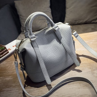 Ladies Leather Crossbody Shoulder Handbag Boston Bag