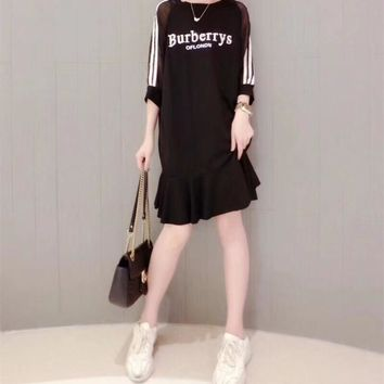 """Balenciaga"" Fashion Casual Letter Stripe Perspective Gauze Middle Sleeve Ruffle Dress"
