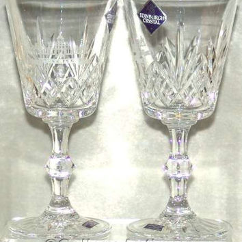 """Two Edinburgh Crystal 6.25"""" Tall Crystal Cut Wine Glasses with Stoke Poges / Stoke Park Golf / Country Club Engraving - Signed (ref: 3113)"""