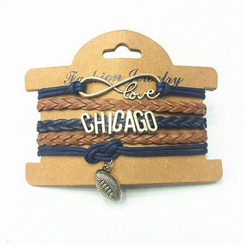 Retro 8 / Chicago Multilayer Woven Wrap Charm Bracelet For Men and Women Wonderful Christmas Gift