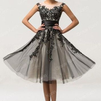 High neck Lace black Prom Dresses short Homecoming dresses tull ball gowns for party vestido de festa