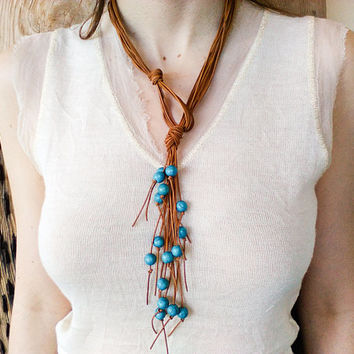 Ocean blue turquoise beaded leather necklace for women, long boho multi strand fringe necklace lariat, bohemian western jewelry, hippie chic