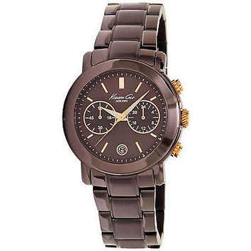 Kenneth Cole New York Women's Watch Brown Chronograph Rose Gold Tone Accents