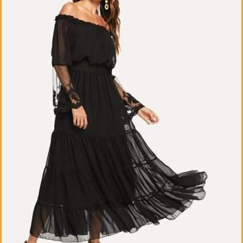 Extended Sizes Off Shoulder Lace Panel Dress