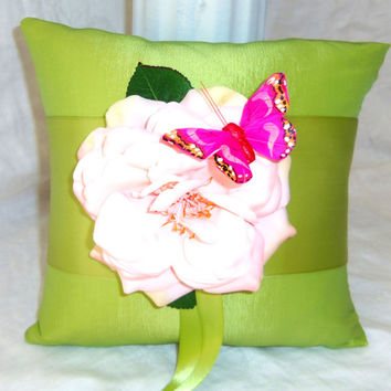 Ring Bearer Pillow- Shabby Chic Wedding Accessory- Butterfly Pillow