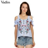 off shouder floral embroidery striped shirts sweet ruffles short sleeve blouse ladies casual tops