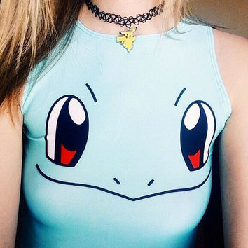 Squirtle/Venusaur Pokemon Kawaii Anime Small Crop Top Shirt