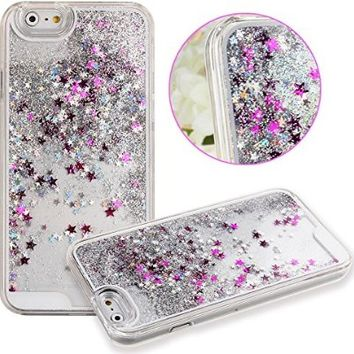 Case for iPhone 6S Plus,Cover for iPhone 6S Plus,iPhone 6S Plus Case Hard Case for iPhone 6S Plus,ikasus(TM) Creative Design Flowing Liquid Floating Luxury Bling Glitter Sparkle Stars Hard Case for Apple iPhone 6S Plus (2015)/ iPhone 6 Plus (2014) (Stars:B
