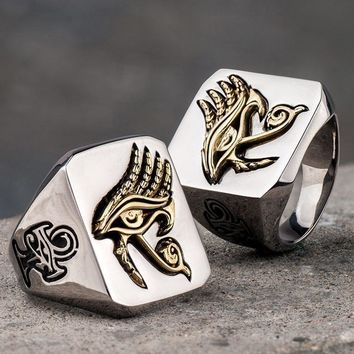 Eye of Horus Stainless Steel Signet Ring