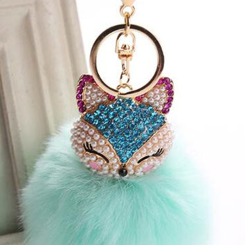 Cat Fur Ball with Pearls and Rhinestone Keyring