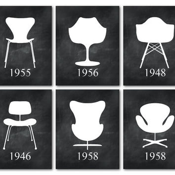 Mid Century Modern Chairs - Furniture Art - Set of 6 Prints Eames Jacobsen Saarinen Chair silhouettes - Iconic chairs tulip chair egg chair