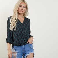 Halle Plaid Surplice Top