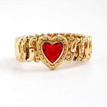 Vintage 10k Yellow Gold Filled Simulated Ruby Heart Expansion Bracelet - 1940s Red Rhinestone Hallmarked American Queen Sweetheart Jewelry