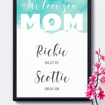 Special Date Wall Art, Printable, Teal,Mother's Day, Editable,Birth Dates,Dates to Remember,Digital Download,Wall Art,Home Decor,Nursery Art