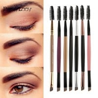 Sided Eyebrow profesional Handle #7 Double 1PCS Angled Brushes NEW maquillaje Wood Brow Flat Makeup pinceaux brochas Duo Brush