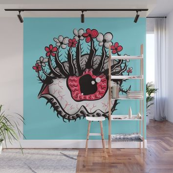 Eye Melt - Weird Red Eye With Flower Eyelashes Wall Mural by borianagiormova
