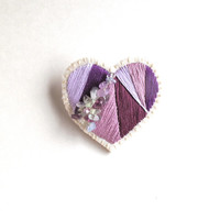 Valentine's day heart brooch hand embroidered purples with fluorite crystals on cream muslin with cream felt back gifts for her