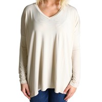 Sand Piko V-Neck Long Sleeve Top