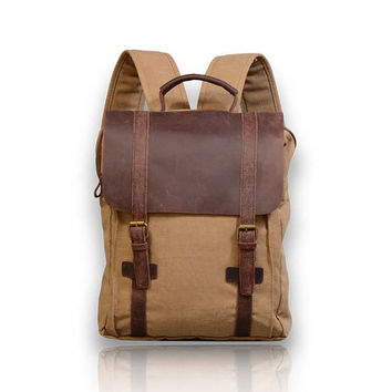 New Vintage Genuine Leather and Canvas Backpack Rucksack Bag blue gray grey unisex