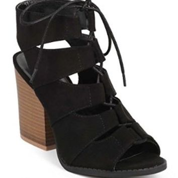 Qupid DC92 Women Suede Peep Toe Gilly Tie Block Heel Gladiator Bootie Sandal - Black