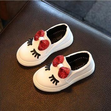 Casual Glitter Bowknot Leather Toddler Girl Slip On Shoes