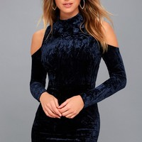 A Little Crush Navy Blue Velvet Cold-Shoulder Bodycon Dress