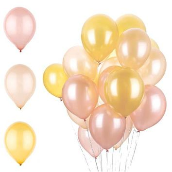 12 Inch Latex Balloons - Rose Gold, Champagne, and Gold
