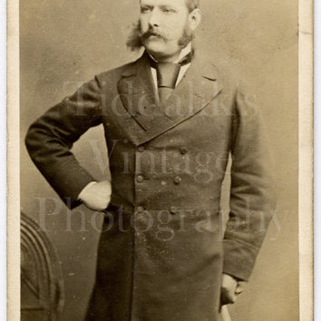 CDV Carte de Visite Photo Victorian Dapper Young Man, Overcoat Cane Mustache Sideburns Portrait - Chancellor of Dublin Ireland - Antique