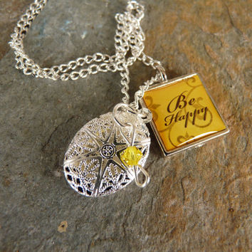 Essential oil diffuser necklace, Be Happy charm, diffuser jewelry, diffuser locket, aromatherapy necklace, dainty charm necklace, yellow