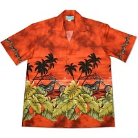 motorcycle orange hawaiian border shirt