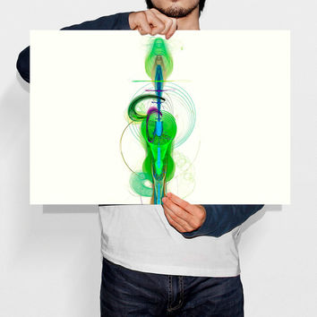 Printable Art Galactic Family Nebula Abstract Spiral Galaxy Art Minimalist Green Wall Art Alien Print Playroom Decor Instant Download