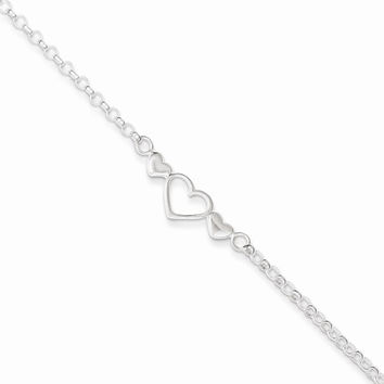 Sterling Silver 10inch Triple Heart Anklet