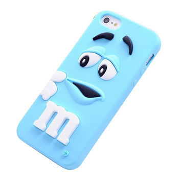 M&M's Chocolate Beans Soft Silicon Phonecase for iPhone 5c (Blue).