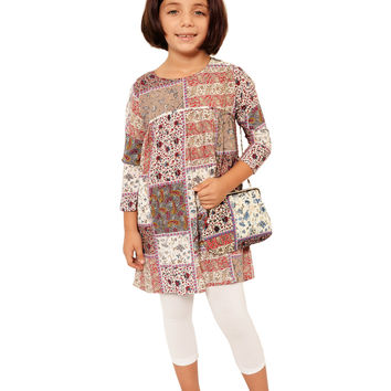 Mini Voiz Girl's Patchwork Decco Tunic w/ Accessories Brown