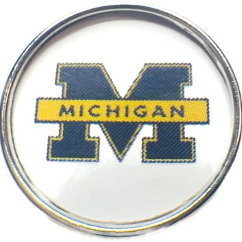 University of Michigan Wolverines College Logo Fashion Snap Jewelry University Snap Charm