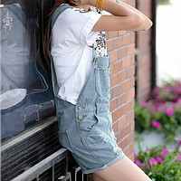 2016 Fashion Girl Denim Rompers Strap Pockets Frayed Ripped Holes Overalls Rompers Womens Jumpsuit Shorts Jeans Light Blue
