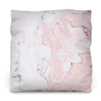 Pink Marble Outdoor Throw Pillow