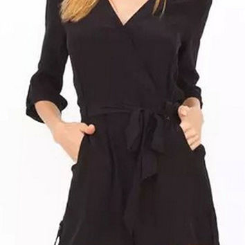 Black Bow Belted Surplice Rompers with Sleeve