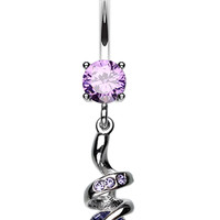Sparkle Star Glass-Gem Swirl Belly Button Ring