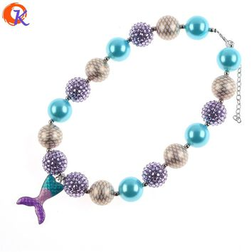 New Arrival Fashion Jewelry 2Pcs/Lot Handmade Chunky Bubblegum Bead Beautiful Mermaid Tail Pendant Kids Necklace CDNL-410826