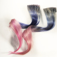 Purple extension, human hair extension, pink clip in // silver hair // Tie Dye Colored Hair // SILVER BELL