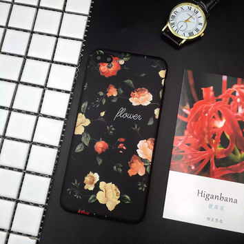The New Trend of Retro Roses Phone Case For iphone 6 6s 6plus 7 7plus,Embossed TPU iphone 6 covers