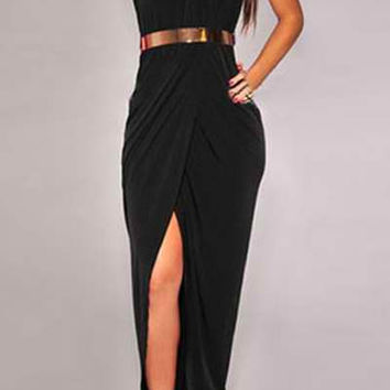 Black Halter Ruched Maxi Dress with Belt
